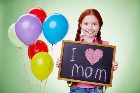 declaring: Little boy declaring love to her mother