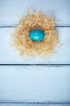 high angle: High angle view of an egg in straw