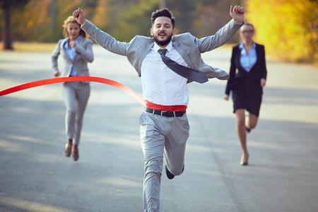 Businessman winning marathon