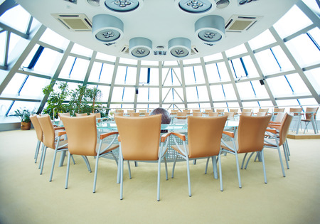 office interior: Big conference hall with round table