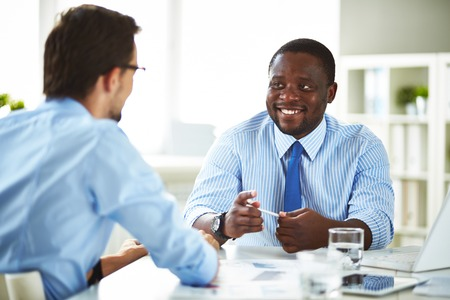 businessman talking: Manager talking to a new employee Stock Photo