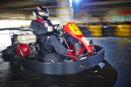 kart: Businessman enjoying kart racing Stock Photo