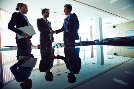 handshaking: Successful professionals handshaking in office with young businesswoman near by Stock Photo