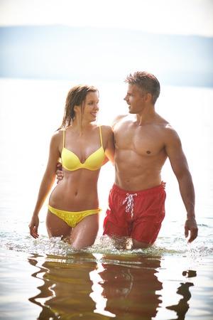 amorous: Amorous couple enjoying summer rest at resort