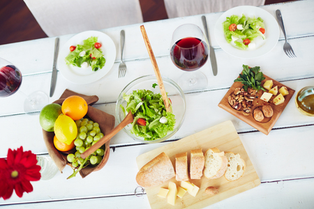 nutritive: Healthy and fresh food on served table