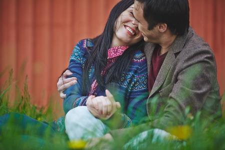 amorous woman: Young man embracing his girlfriend Stock Photo