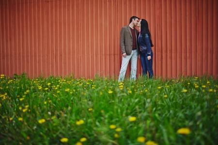 parejas enamoradas: Pares amorosos besos en ropa casual en césped verde Foto de archivo