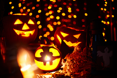 antichrist: Halloween pumpkins with burning candles inside