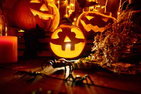 antichrist: Jack-o-lanterns and other traditional symbols of evil holiday
