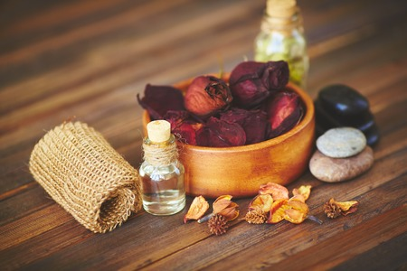 oil massage: Group of objects for aromatic oil massage
