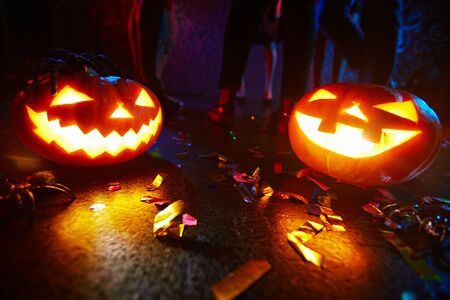 dancefloor: Jack-o-lanterns shining on dance floor