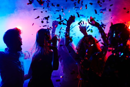 Dancing people at nightclub on Halloween night Stok Fotoğraf - 44206837
