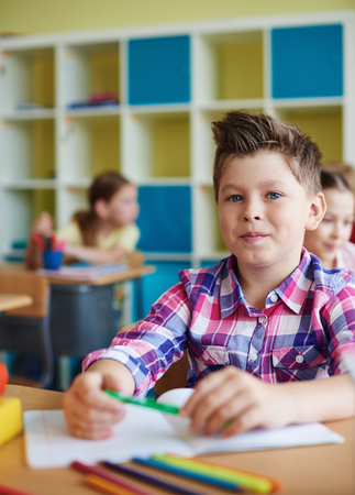 schoolmate: Portrait of a cute schoolboy looking at camera at lesson Stock Photo