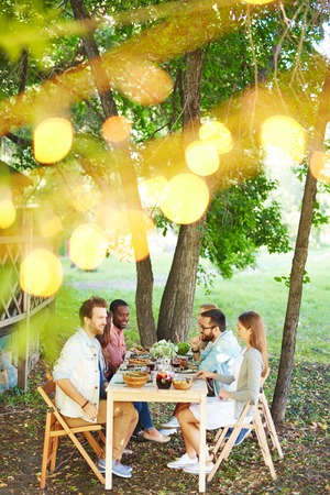 sitting at table: Group of friends talking by Thanksgiving dinner outdoors