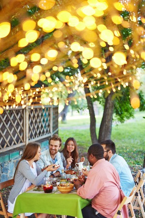 happy group: Group of friends having traditional Thanksgiving dinner outdoors Stock Photo