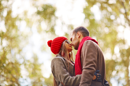 amorous: Amorous couple embracing in park