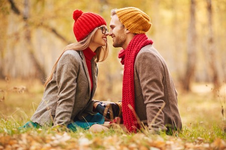 happy young couple: Happy dates spending time in park Stock Photo