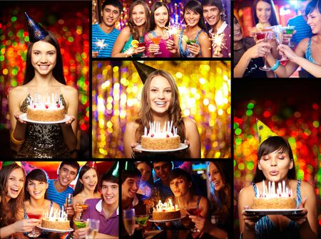 party friends: Photo collage of young people having party