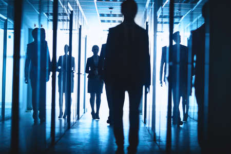 go inside: Elegant businesswoman and businessmen walking down corridor of business center Stock Photo