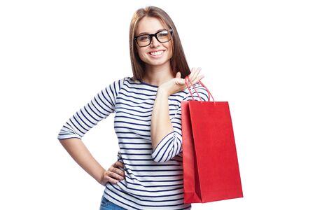 happy shopper: Happy shopper in eyeglasses looking at camera