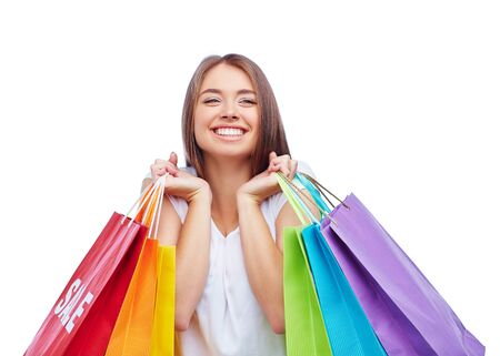 paperbags: Joyful customer with several paperbags Stock Photo