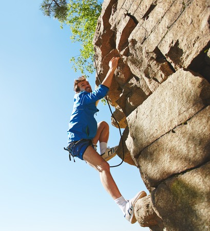 rappeling: Rappeling lover climbing the rock