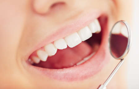 dental clinics: Open mouth during oral checkup
