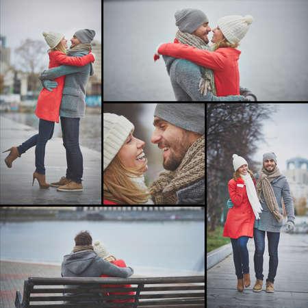 amorous woman: Young dates in casualwear having walk in urban environment