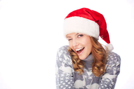 flirty: Flirty girl in Santa cap and sweater