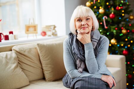 one senior adult woman: Portrait of senior woman at home Stock Photo