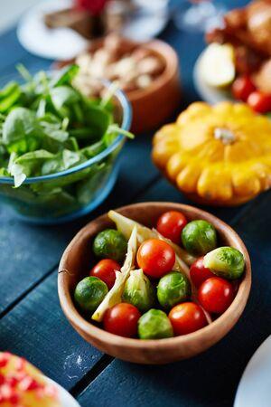 served: Fresh vegetables on served table