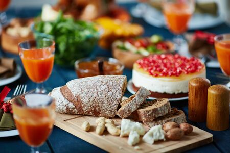 festive occasions: Slices of rye bread and other food on festive table