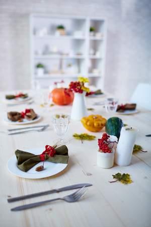 served: Traditional served table for Thanksgiving dinner