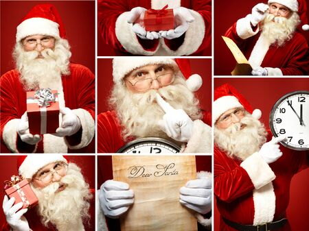 Collection of Santa Claus images Stock Photo