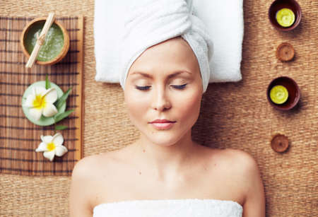 natural therapy: Beautiful woman relaxing in spa