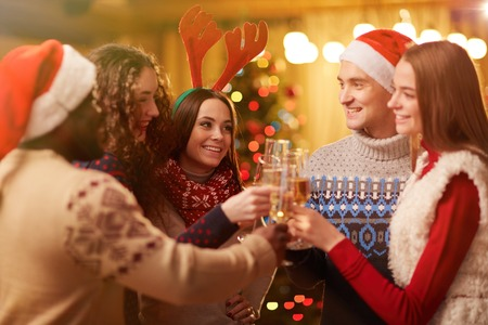 liquor girl: Happy young friends toasting on Christmas party Stock Photo