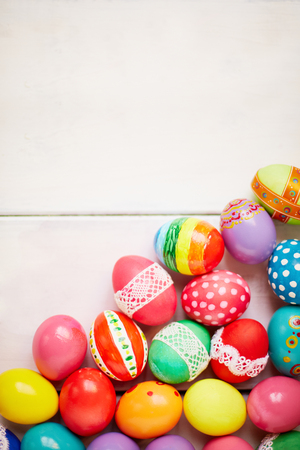 painted eggs: Painted eggs on white background