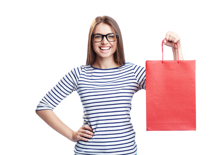 paperbag: Young shopaholic with red paperbag