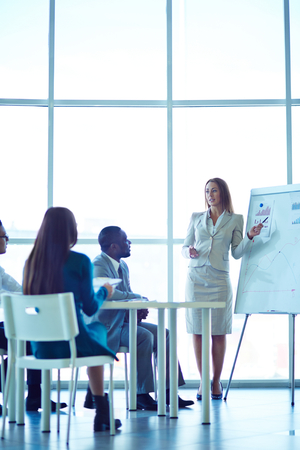 standing people: Business people having on presentation at office Stock Photo