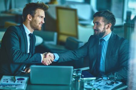 handshaking: Two confident employees handshaking after negotiation Stock Photo