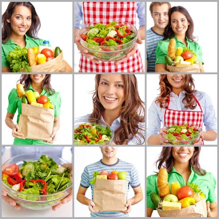 Collage of people standing with healthy food and salad photo
