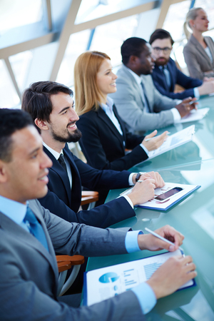 Business people during business seminar Stock Photo