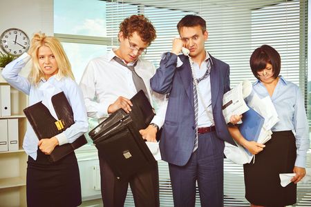 messy: Messy white collar workers being confused after briefing