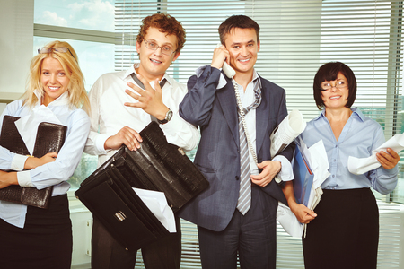 messy: Messy business people tired after briefing Stock Photo