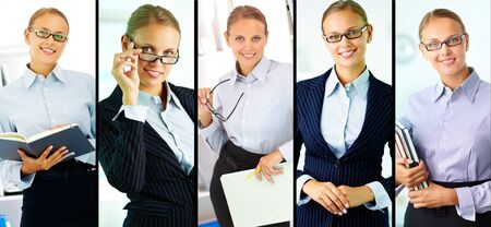 Portraits of smiling young businesswoman photo