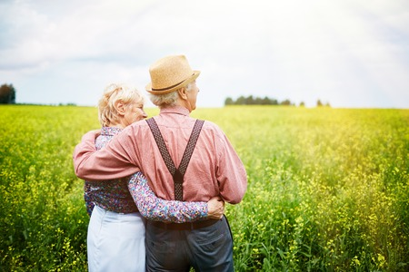 Rear view of senior couple enjoying beautiful view