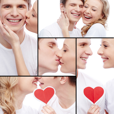 amorous: Collage of young amorous dates Stock Photo