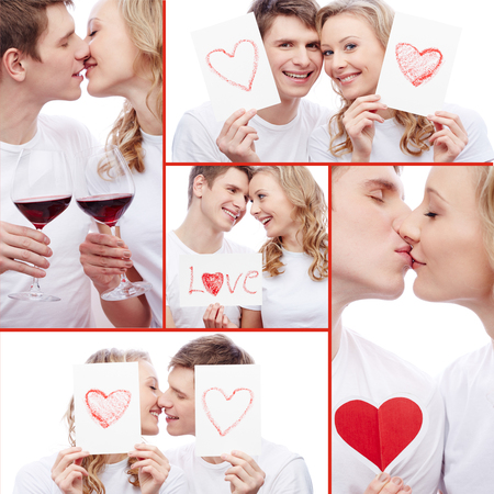 flirty: Collage of flirty dates with red wine and paper hearts Stock Photo
