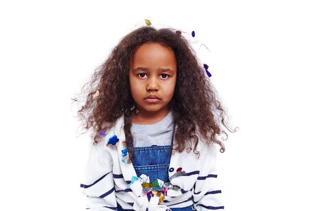 africanamerican: Sulky African-american girl looking at camera