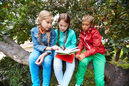 schoolkids: Friendly schoolkids reading book outdoors